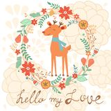 Hello my love cute card with deer Stock Images