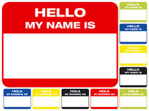 Hello, my name is. Name label in both english and spanish Stock Illustration