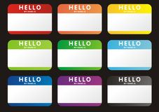 Hello my name is. Set of bright colored stickers Royalty Free Stock Image