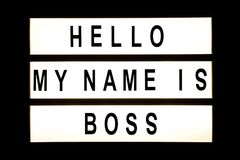 Hello my name is boss hanging light box. Sign board stock photo
