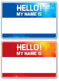 Hello my name is card. Blue and red name tag blank sticker hello my name is, name tag blank stickers se Royalty Free Stock Image
