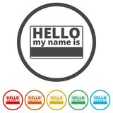 Hello my name card, with Copy Space icons set, 6 Colors Included Royalty Free Stock Image