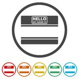 Hello my name card, with Copy Space icons set, 6 Colors Included Stock Photography