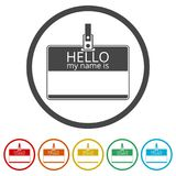 Hello my name card, with Copy Space icons set, 6 Colors Included Royalty Free Stock Images
