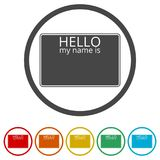 Hello my name card, with Copy Space icons set, 6 Colors Included Stock Photos