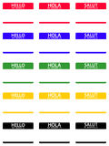 Hello My Name Is EPS. A set of Hello My Name Is tags in English, Spanish and French. Varying colors and available in vector EPS format Stock Image