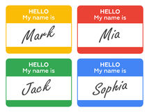 Hello My Name Is... Introduction cards, labels and badges set. Stock Photography