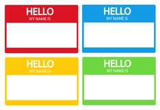 Hello, my name is introduction flat label set Royalty Free Stock Photos