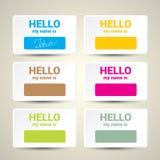 Hello My Name Is... Name Tag Set. Stock Photo