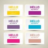Hello My Name Is. Name Tag Set. Stock Photos