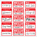 Hello My Name is Nametags. An assortment of Hello my name is temporary sticker lapel badges that are editable in vector format Stock Photography