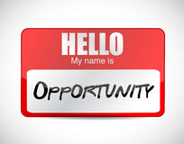 Hello my name is opportunity name tag. Illustration design over a white background Royalty Free Stock Image