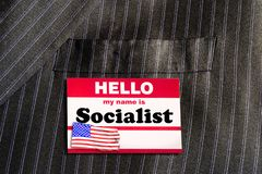 Hello My Name is Socialist. Name tag royalty free stock photography