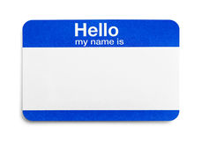 Hello My Name Is Tag. Blue Hello Greeting Name Tag Isolated on White Background Royalty Free Stock Photography