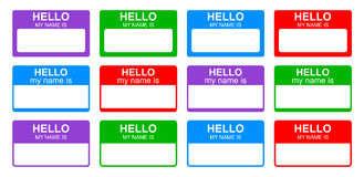 Hello my name is. Tag collection on white background vector illustration