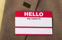 Hello my name is. Stock Image