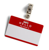 Hello My Name Is Tag. Red and White Plastic Name Tag with Hello My Name Is on White Background