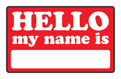 Hello My Name Is Tags. Blank name tags that say HELLO MY NAME IS Stock Photography
