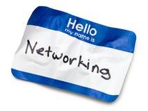 Hello Name Tag. Blue Hello Name Tag on White Royalty Free Stock Photo