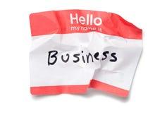 Hello Name Tag. Crumpled Hello Name Tag on White stock image