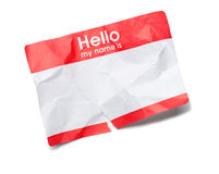 Hello Name Tag. Crumpled Hello Name Tag on White Royalty Free Stock Photos
