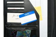 Hello Name Tag on Portfolio. Hello Name Tag on Business Portfolio stock image