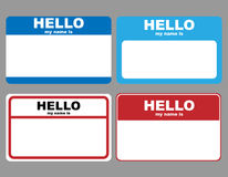 Hello name tags. Set of four hello my name is tags isolated on grey background.EPS file available Stock Photo