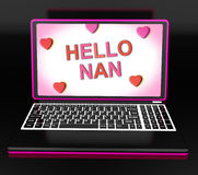 Hello Nan With Hearts Shows Message And Best Wishes. Hello Nan With Hearts Showing Message And Best Wishes Stock Photos