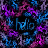 Hello Neon light, blue, pink leaves on black background. Vector Royalty Free Stock Photo