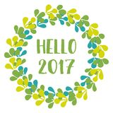 Hello 2017 New Year green vector wreath isolated on white background Royalty Free Stock Photo