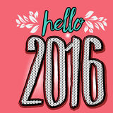 Hello 2016 New Year Greeting. Text with knitted pattern Royalty Free Stock Images