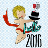 Hello 2016 New Year Greeting. Text with knitted pattern Royalty Free Stock Photography