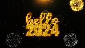 Hello 2024 New Year New Year text wish on firework display explosion particles.