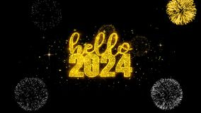 Hello 2024 New Year text wish reveal on glitter golden particles firework.