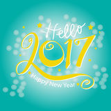 Hello New Year 2017 typography Royalty Free Stock Images