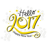 Hello New Year 2017 typography Stock Photography