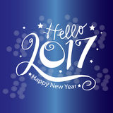 Hello New Year 2017 typography. Greeting card design with hand lettering inscription for winter holidays Stock Photos