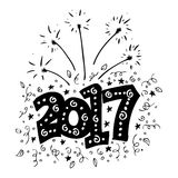 Hello New Year 2017 typography Royalty Free Stock Image