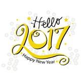 Hello-Nieuwjaar 2017 typografie Stock Illustratie