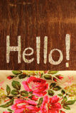 Hello note and flower Royalty Free Stock Images