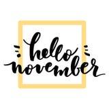 Hello November bokstäver stock illustrationer