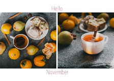 Hello, November or December collage with hot tea and fruits Stock Images