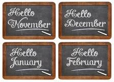 Hello November, December, January, February Royalty Free Stock Photo