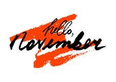 Hello november Hand het getrokken van letters voorzien Stock Foto's