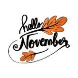 Hello November. Modern brush lettering royalty free illustration