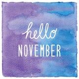 Hello November op blauwe en violette waterverfachtergrond Stock Fotografie