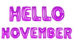 Hello november, purple color royalty free stock photos