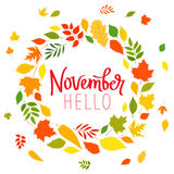 Hello November. The trend calligraphy. Royalty Free Stock Image