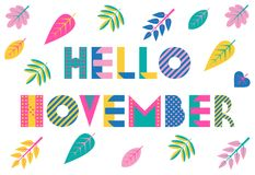 Hello November. Trendy geometric font in memphis style of 80s-90s. Vector background with colorful autumn leaves. Isolated on a white background stock illustration