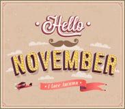 Hello november typografisk design. Royaltyfri Foto